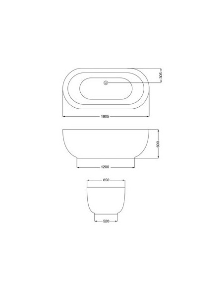 Ferrum Rhonda (bl005) Bañera Isla Oval Solido 1.80x86 Blanco